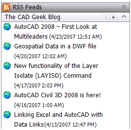 RSS Feed Reader Inside AutoCAD 043007 0531 rssfeedread7