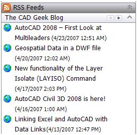 RSS Feed Reader Inside AutoCAD 043007 0531 rssfeedread7