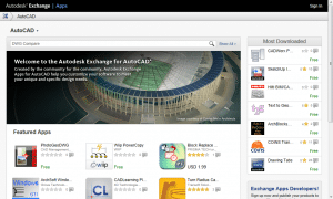 Searching for an application from the Autodesk Exchange home page.