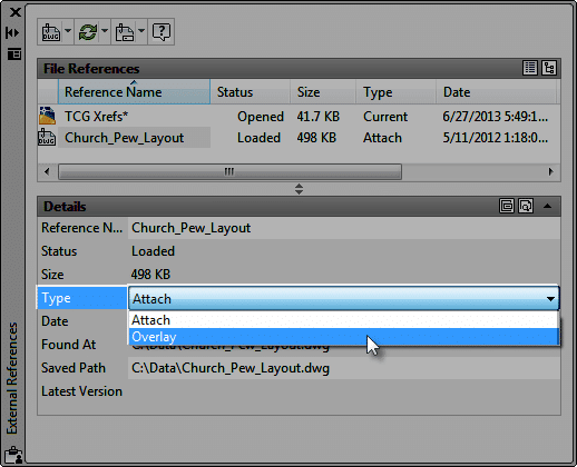 Changing the attachment type of an existing External Reference (xref)