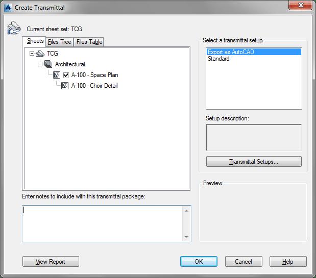 Creating a new eTransmit Transmittal using Sheet Set Manager