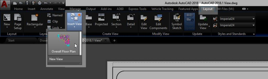 Sheet Setup Made Easy with AutoCAD 2018.1 Views and Viewports AutoCAD 2018.1 Insert View