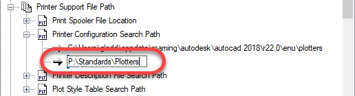 Network AutoCAD Printer Configuration Search Path
