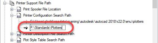 Network AutoCAD Printer Configuration Search Path